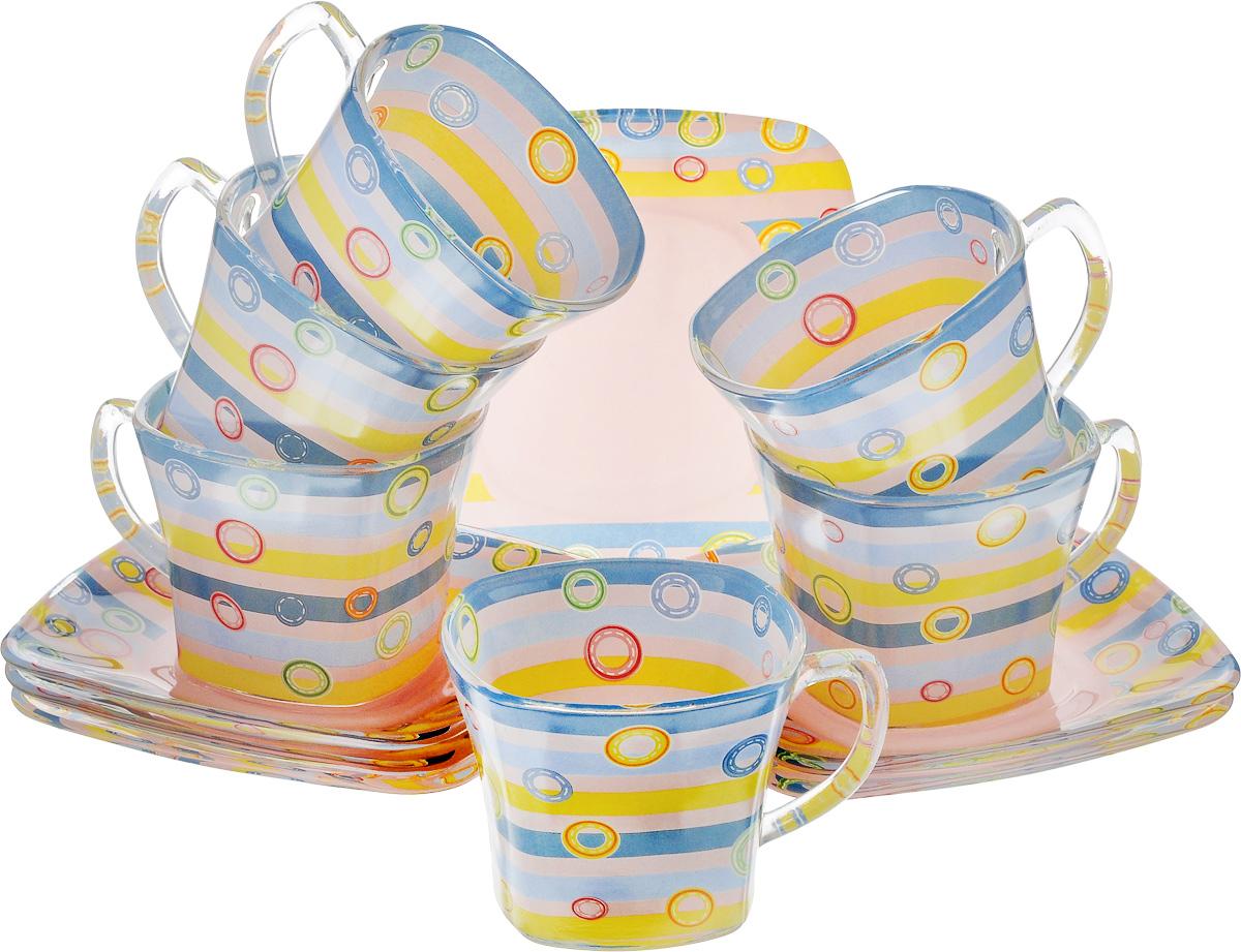 Набор чайный Loraine, цвет: голубой, розовый, желтый, 12 предметов24125Чайный набор Loraine состоит из шести чашек и шести блюдец, выполненных из стекла. Изделия оформлены ярким рисунком. Изящный набор эффектно украсит стол к чаепитию и порадует вас функциональностью и ярким дизайном. Можно мыть в посудомоечной машине. Размеры чашки (по верхнему краю): 8 х 8 см. Высота чашки: 6,5 см. Объем чашки: 200 мл. Размеры блюдца: 13,2 х 13,2 см. Высота блюдца: 1,5 см.