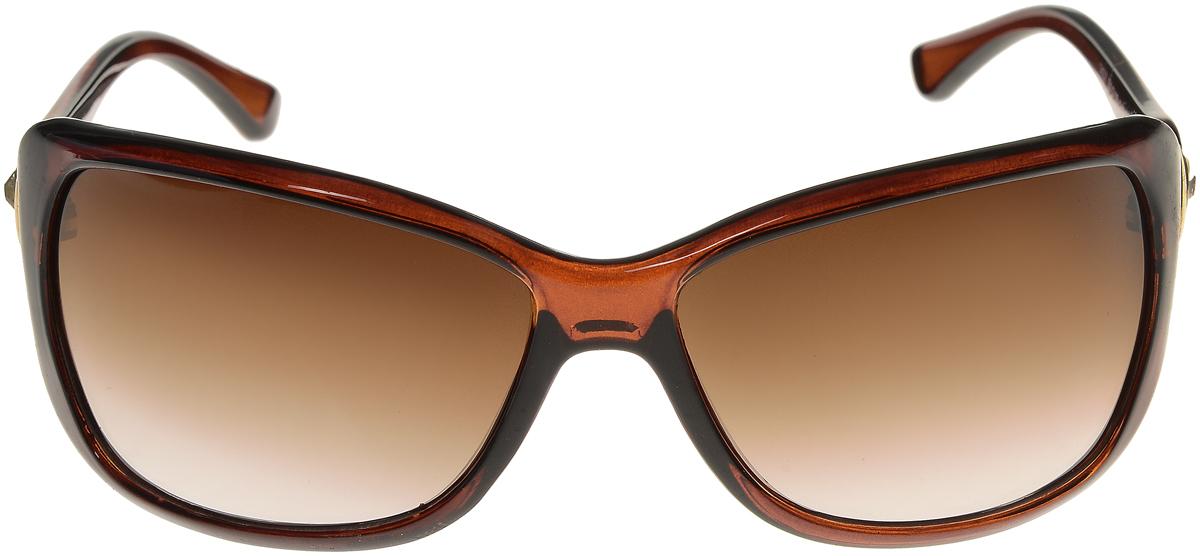 Очки солнцезащитные женские Vittorio Richi, цвет: коричневый. ОС1437с4/17fINT-06501Элегантные солнцезащитные очки Vittorio Richi выполнены из высококачественного пластика и металла, декорированы стразами. Пластик используемый при изготовлении линз не искажает изображение, не подвержен нагреванию и вредному воздействию солнечных лучей. Оправа очков легкая, прилегающей формы и поэтому обеспечивает максимальный комфорт. Такие очки защитят глаза от ультрафиолетовых лучей, подчеркнут вашу индивидуальность и сделают ваш образ завершенным.