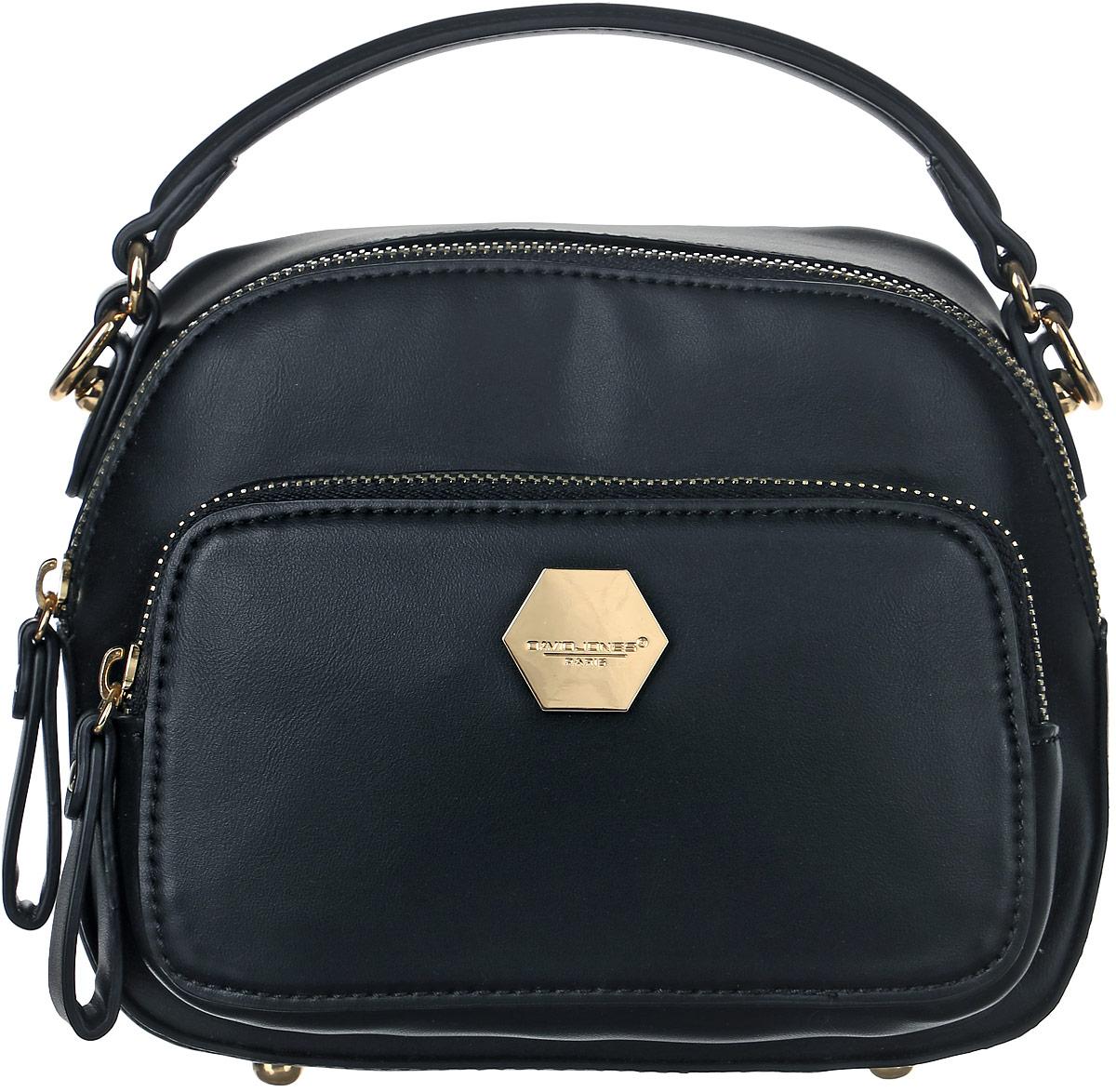 Сумка женская David Jones, цвет: черный. 5526-15526-1 BLACKСтильная женская сумка David Jones выполнена из мягкой экокожи и с лицевой стороны дополнена металлической пластиной с названием бренда. Сумка имеет одно основное отделение, закрывающееся на застежку-молнию. Внутри находится прорезной карман на застежке-молнии и один накладной открытый карман. Снаружи, на передней стенке размещен прорезной карман на застежке- молнии. Сумка оснащена одной удобной ручкой и съемным плечевым ремнем. Дно сумки дополнено металлическими ножками.
