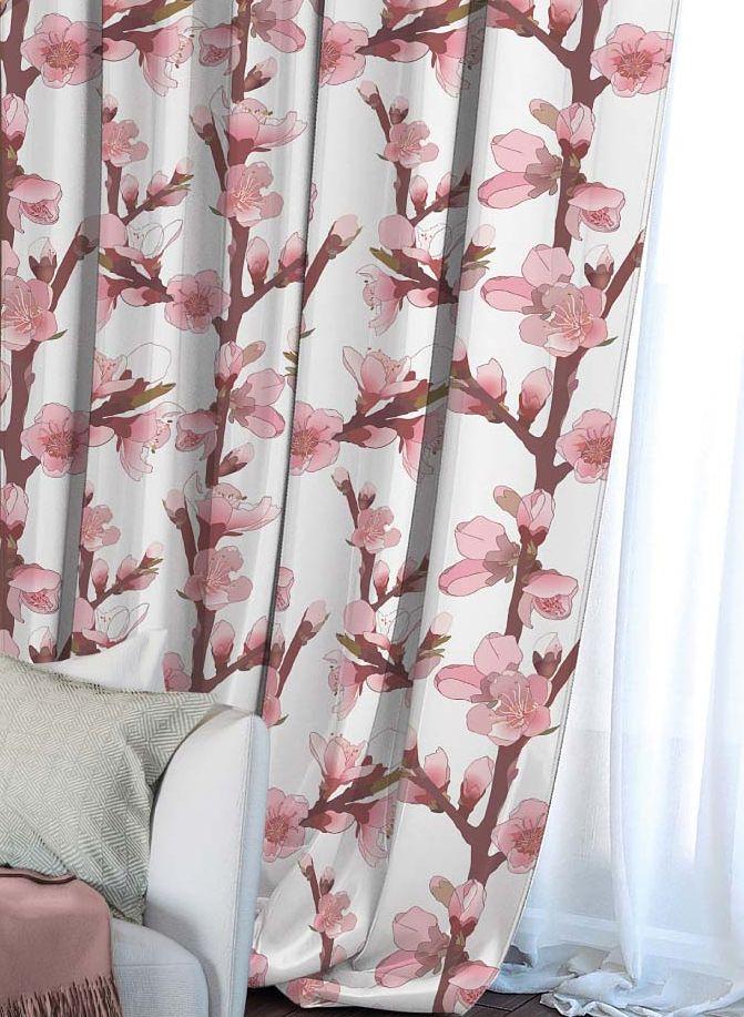 Штора Волшебная ночь Сherry Blossoms, на ленте, высота 270 см. 704482704482Шторы коллекции ВОЛШЕБНАЯ НОЧЬ - это готовое решение для Вашего интерьера, гарантирующее красоту, удобство и индивидуальный стиль! Штора изготовлена из мягкой, приятной на ощупь ткани сатен , которая обеспечивает частичное затемнение и легко драпируется. Длина шторы регулируется с помощью клеевой паутинки (в комплекте). Изделие крепится на вшитую шторную ленту: на крючки или путем продевания на карниз. Дизайнеры Марки предлагают уже сформированные комплекты штор из различных тканей и рисунков для создания идеальной композиции на окне. Для удобства выбора дизайны штор распределены в стилевые коллекции: ЭТНО, ВЕРСАЛЬ, ЛОФТ, ПРОВАНС. В коллекции Волшебная ночь к данной шторе Вы также сможете подобрать шторы из других тканей: БЛЭКАУТ (100% затемненение), ГАБАРДИН (частичное затемнение) и ВУАЛЬ (практически нулевое затемнение), которые будут прекрасно сочетаться по дизайну и обеспечат особый уют Вашему дому.