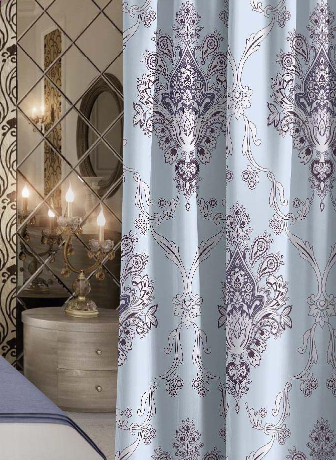 Штора Волшебная ночь Royalty, на ленте, цвет: голубой, высота 270 см10503Шторы коллекции Волшебная ночь - это готовое решение для интерьера, гарантирующее красоту, удобство и индивидуальный стиль! Штора изготовлена из приятной на ощупь ткани габардин, которая плотно драпирует окно, но позволяет свету частично проникать внутрь. Длина шторы регулируется с помощью клеевой паутинки (в комплекте). Изделие крепится на вшитую шторную ленту: на крючки или путем продевания на карниз.