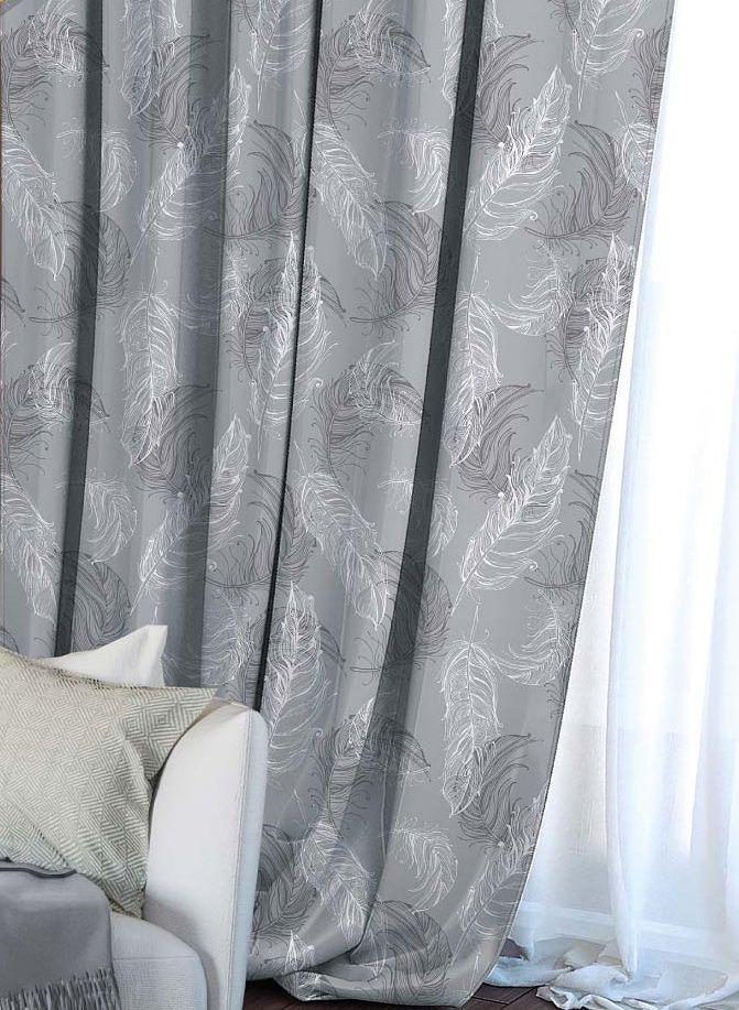 Штора Волшебная ночь Lana, на ленте, цвет: серый, высота 270 см. 70554910503Шторы коллекции Волшебная ночь - это готовое решение для интерьера, гарантирующее красоту, удобство и индивидуальный стиль! Штора изготовлена из мягкой, приятной на ощупь ткани сатен, которая обеспечивает частичное затемнение и легко драпируется. Длина шторы регулируется с помощью клеевой паутинки (в комплекте). Изделие крепится на вшитую шторную ленту: на крючки или путем продевания на карниз.