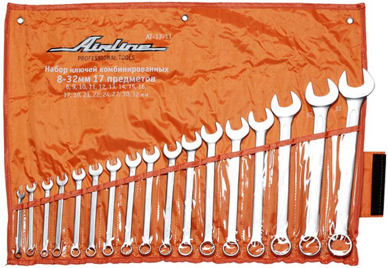 Набор ключей комбинированных Airline, 17 предметовAT-17-11стаНабор комбинированных ключей Airline станет отличным помощником монтажнику или владельцу авто. Этот набор обеспечит надежную фиксацию на гранях крепежа. Ключи изготовлены из хромованадиевой стали. В набор входят: Сумка для ключей; Ключи: 8, 9, 10, 11, 12, 13, 14, 15, 16, 17, 19, 21, 22, 24, 27, 30, 32 мм.