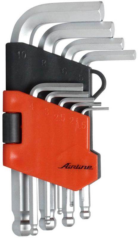 Набор ключей шестигранных Airline, коротких, с шаром, 1,5 мм - 10 мм, 9 штAT-9-17Набор Airline состоит из 9 коротких шестигранных ключей с шаром выполненных из хром-ванадиевой стали. Ключи в процессе производства подвергается закалке и отпуску и имеют финишное покрытие - хромирование. Удобный пластиковый подвес гарантирует порядок на рабочем месте. В набор входят ключи: 1,5 мм, 2 мм, 2,5 мм, 3 мм, 4 мм, 5 мм, 6 мм, 8 мм, 10 мм.