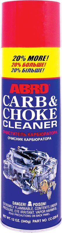 Очиститель карбюратора Abro + 20%CC-220Растворяет и удаляет углеродистые отложения, нагар, масло и прочие загрязнения с дроссельных заслонок, карбюратора и прочих деталей топливной системы. Подходит для карбюраторных и инжекторных двигателей (EFI, MPI, GDI, FSI и т. д.). Использование Очиститель карбюратора и дроссельных заслонок позволяет снизить расход топлива, улучшить запуск двигателя, восстановить стабильность холостых оборотов. При использовании бензина низкого качества рекомендуется использовать очиститель карбюратора каждые 7000–10 000 км. Помимо основного предназначения можно использовать для очистки любых маслянистых загрязнений, нагара, смазки.