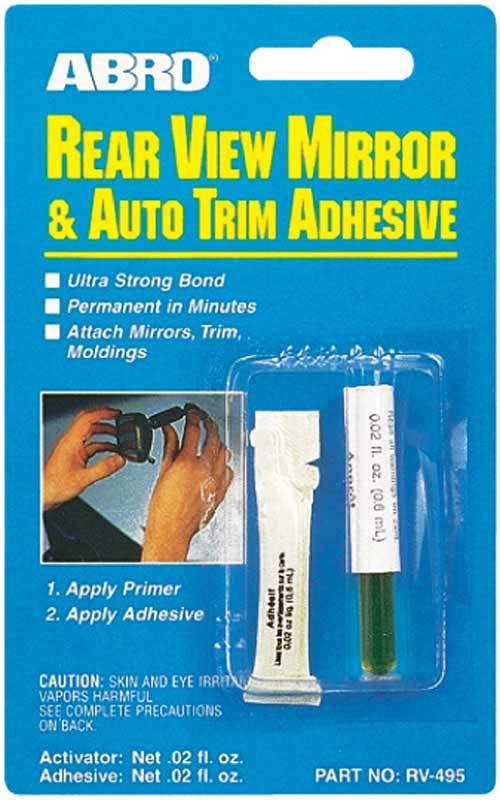 Клей зеркала заднего вида AbroRV-495Особо прочный и быстросхватывающийся клей. Помимо основного предназначения может применяться во всех случаях соединений металл-стекло, металл-металл, стекло-стекло.