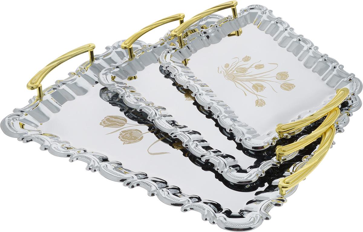 Набор подносов Mayer & Boch, 3 шт. 36763676Набор Mayer & Boch состоит из трех сервировочных подносов разного размера, изготовленных из нержавеющей стали с зеркальной полировкой. Подносы имеют прямоугольную форму и ручки золотистого цвета. Изделия оформлены изображение цветов и изящными краями. Подносы отлично подойдут для подачи рыбных блюд, а традиционные блюда будут выглядеть на них более аппетитно. Современный стильный дизайн и функциональность позволят подносам занять достойное место на вашей кухне. Нельзя мыть в посудомоечной машине. Размер маленького подноса: 29 х 19 х 3 см. Размер среднего подноса: 34,5 х 22,5 х 3,5 см. Размер большого подноса: 43 х 28,5 х 3,5 см.