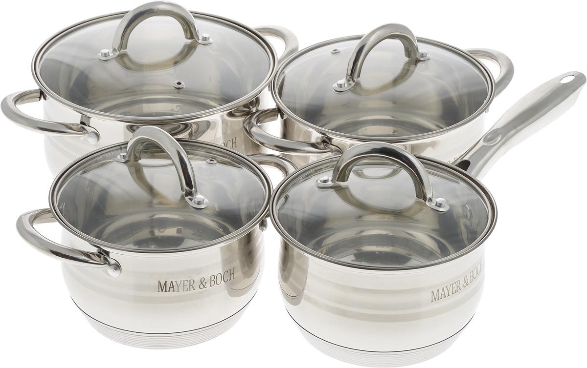 Набор посуды Mayer & Boch с крышками, 8 предметов. 2404024040Набор посуды Mayer & Boch, выполненный из нержавеющей стали, состоит из четырех кастрюль и сотейника. Изделия имеют прочное 9-слойное капсульное дно, что обеспечивает равномерное распределение тепла. Ручки из нержавеющей стали надежно крепятся к корпусу емкостей. Крышки из термостойкого стекла позволяют следить за процессом приготовления пищи без потери тепла. Они оснащены металлическим ободом и отверстием для выхода пара. Эргономичный дизайн и функциональность набора Mayer & Boch позволят вам наслаждаться процессом приготовления любимых блюд. Изделия подходят для использования на всех типах плит, кроме индукционных. Можно мыть в посудомоечной машине. Диаметр кастрюль (по верхнему краю): 16 см; 18 см; 20 см. Ширина кастрюль (с учетом ручек): 24 см; 26,5 см; 28,5 см. Высота стенки кастрюль: 10,5 см; 12 см; 12,5 см. Объем кастрюль: 2 л; 2,8 л; 3,8 л. Диаметр сотейника (по верхнему краю): 16 см. Высота...