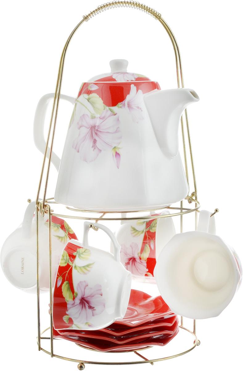 Набор чайный Loraine, на подставке, 10 предметов. 2473824738Чайный набор Loraine состоит из 4 чашек, 4 блюдец, заварочного чайника и подставки. Посуда изготовлена из качественной глазурованной керамики и оформлена изображением цветов. Блюдца и чашки имеют необычную фигурную форму. Все предметы располагаются на удобной металлической подставке с ручкой. Элегантный дизайн набора придется по вкусу и ценителям классики, и тем, кто предпочитает современный стиль. Он настроит на позитивный лад и подарит хорошее настроение с самого утра. Чайный набор Loraine идеально подойдет для сервировки стола и станет отличным подарком к любому празднику. Можно использовать в СВЧ и мыть в посудомоечной машине. Объем чашки: 250 мл. Размеры чашки (по верхнему краю): 8,7 х 9 см. Высота чашки: 6,2 см. Диаметр блюдца: 14 см. Высота блюдца: 1,5 см. Объем чайника: 1,1 л. Размер чайника (без учета ручки и носика): 13 х 13 х 13 см. Размер подставки: 18 х 18 х 37 см.