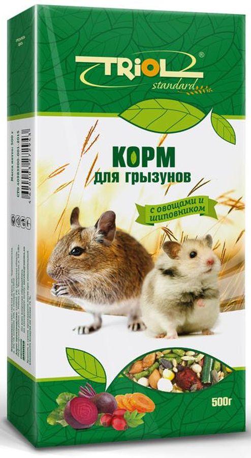 Корм Тriol Standard для грызунов, с овощами и шиповником, 500 гКф-16900Комплексный, высококачественный основной корм для грызунов с овощами и шиповником. Эта универсальная смесь натуральных природных компонентов содержит все питательные вещества, витамины и минералы, необходимые для роста и развития вашего питомца. Оптимальная комбинация травяных гранул и семян различных зерновых культур обеспечивают превосходное пищеварение, гигиену полости рта, сияющую шерсть и великолепное здоровье грызунам. Правильно сбалансированный корм поможет вам вырастить здоровых и веселых питомцев. Продукт не содержит искусственных добавок и красителей. Корм для грызунов порадует вашу морскую свинку, хомячка или шиншиллу, крысу или мышку и разнообразит его ежедневный рацион. Корм специально составлен из самых вкусных и необходимых компонентов, он содержит много волокон, что положительно влияет на пищеварение вашего питомца. Корм изготовлен из отборного экологически чистого зерна, для поддержания долгой и здоровой жизни вашего любимца. СОСТАВ: просо белое, просо красное,...