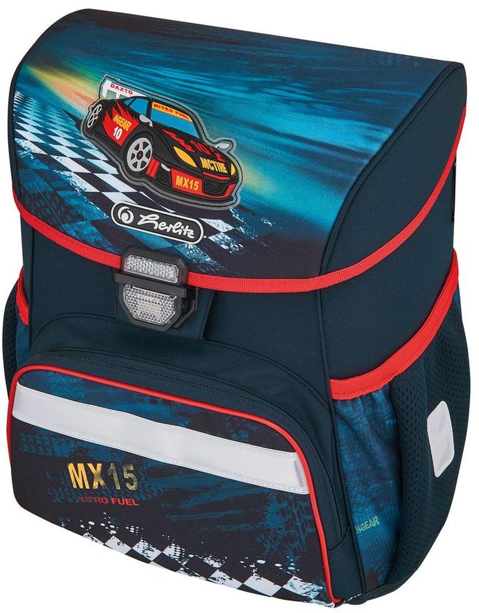 Herlitz Ранец школьный для мальчика Loop Plus Super Racer с наполнением цвет темно-синий72523WDРанец Loop Plus Super Racer подарит ребенку удобство и стильный внешний вид. Вместе с ранцем в набор входят: текстильный мешок для сменной обуви, жесткий пенал с наполнением 16 предметов, косметичка. Исполненный из полиэстера, он имеет два основных отделения, прикрытых клапаном на защелке, на внутренней стороне которого имеется расписание для уроков, два боковых кармана на резиночке, один большой внешний карман на молнии, уплотненную эргономичную спинку, твердое дно и широкие мягкие регулируемые лямки. Ткань ранца пропитана водоотталкивающим составом. Для удобства переноски рюкзак снабжен ручкой, а чтобы ребенка можно было распознать на дороге в сумерки - светоотражателями. Вес ранца меньше килограмма.