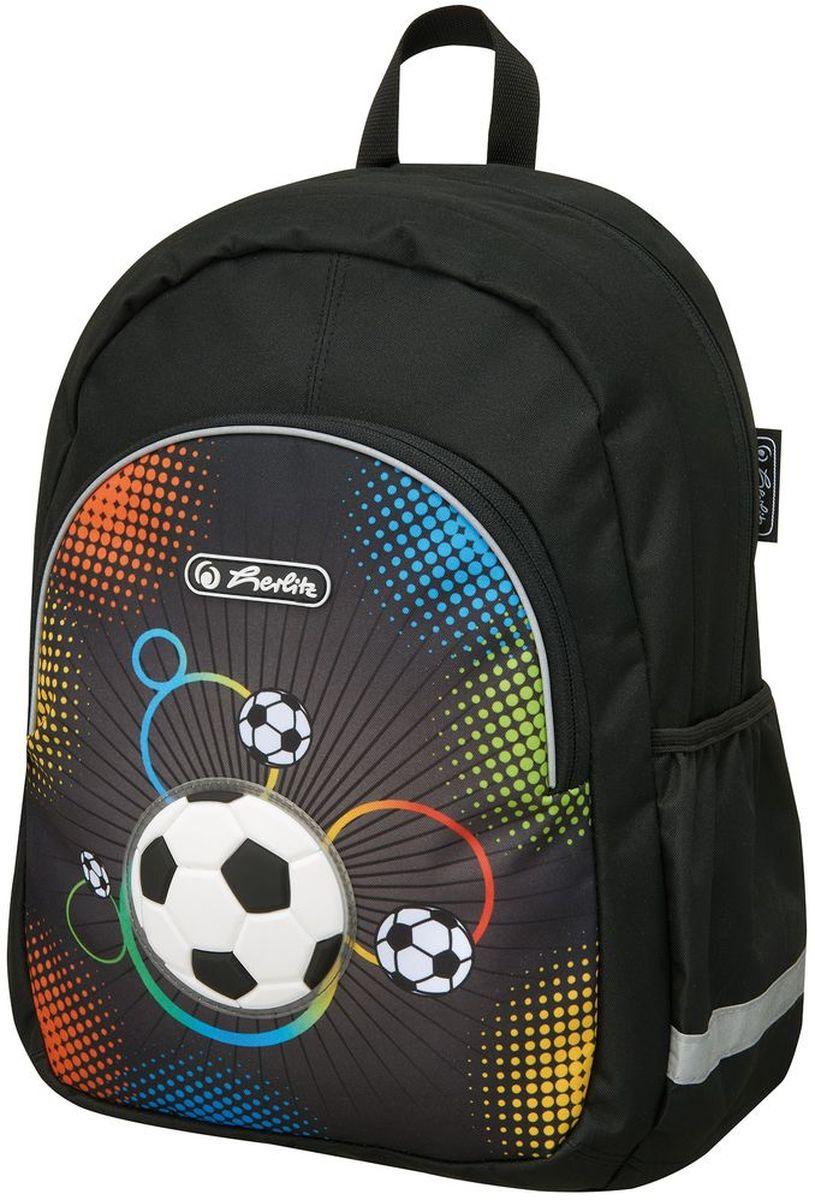 Herlitz Рюкзак школьный Soccer50007967Рюкзак Soccer -размеры 37х26х14 см - яркий, привлекательный дизайн - наружный карман на молнии - вентилируемые спинка и лямки вес 300 гр