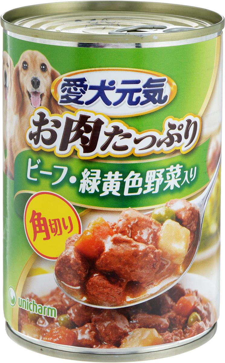Консервы для собак Unicharm Aiken Genki, говяжий гуляш с овощами, 400 г671214Консервы для собак Unicharm Aiken Genki - это сбалансированное высококачественное питание для вашего питомца. Аппетитные сочные кусочки говядины и овощей в тающем соусе произведены с сохранением всех свойств натуральных продуктов, содержат комплекс питательных веществ и микроэлементов, необходимых для полноценного развития вашего четвероногого друга. Корм полностью удовлетворяет ежедневные энергетические потребности взрослого животного и обеспечивает оптимальное функционирование пищеварительной системы. Состав: курица, говядина, куриный экстракт, морковь, картофель, зеленый горошек, пшеничная мука, приправа, глюкоза, ксилоза, витамины и минералы (В1, В2, В6, D, E, кальций, хлор, калий, натрий, фосфор), стабилизатор (гуаровая камедь), консервант (нитрит натрия), красители (диоксид титана, оксид железа). Пищевая ценность (на 100 г): белки - 5%, липиды - 4%, клетчатка - 1,5%, зола - 4%, влажность - 85%. Энергетическая ценность: 95 ккал. ...