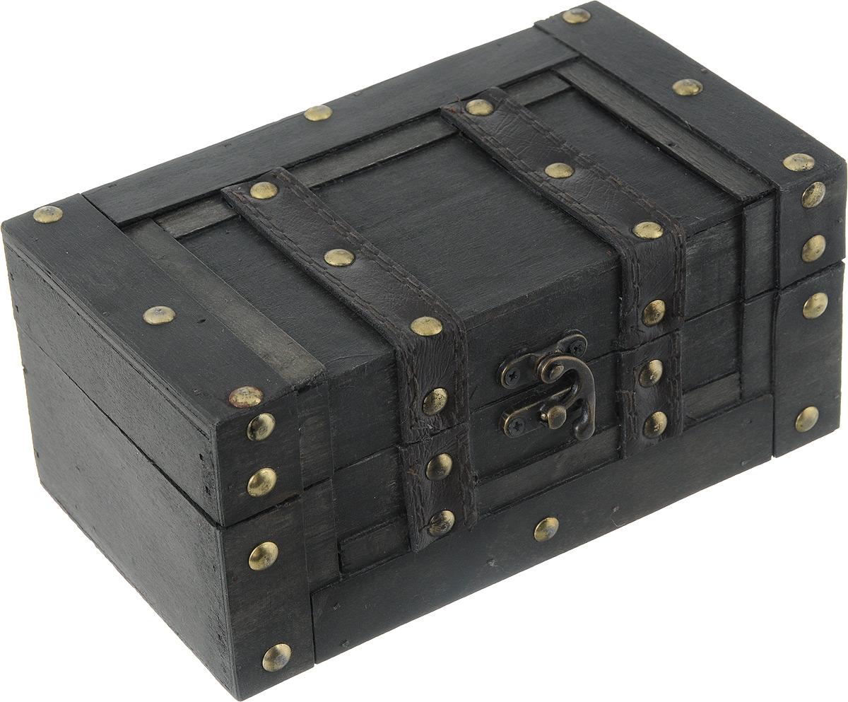 Шкатулка декоративная Bestex, 20 х 11,5 х 9 см7716721Декоративная шкатулка Bestex, выполненная в виде старинного сундука, идеально подойдет для хранения бижутерии, принадлежностей для шитья, различных мелочей и безделушек. Изделие выполнено из МДФ, декорировано металлическими элементами и вставками из искусственной кожи. Закрывается на металлический курковый замок. Такая шкатулка станет отличным подарком человеку, ценящему необычные и стильные аксессуары.