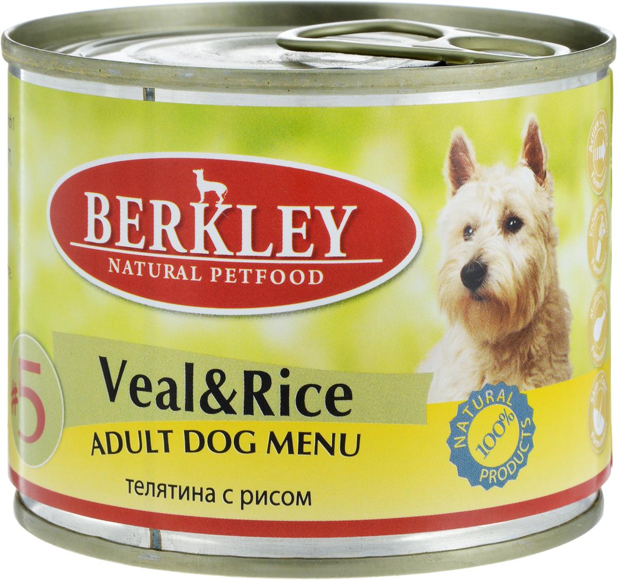 Консервы для собак Berkley №5, с телятиной и рисом, 200 г59949Консервы для собак Berkley №5 изготовлены из натурального мясного сырья. Не содержат сои, консервантов, искусственных красителей, ароматизаторов. Такой корм полностью удовлетворяет ежедневные энергетические потребности животного и обеспечивает оптимальное функционирование пищеварительной системы. Вес: 200 г. Товар сертифицирован.