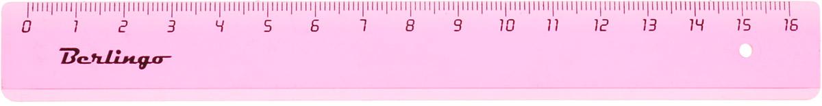 Berlingo Линейка цвет прозрачный розовый 16 см665-SBЛинейка Berlingo выполнена из полупрозрачного пластика розового цвета. Длина линейки - 16 см.Линейка - это незаменимый атрибут, необходимый школьнику или студенту, упрощающий измерение и обеспечивающий ровность проводимых линий.