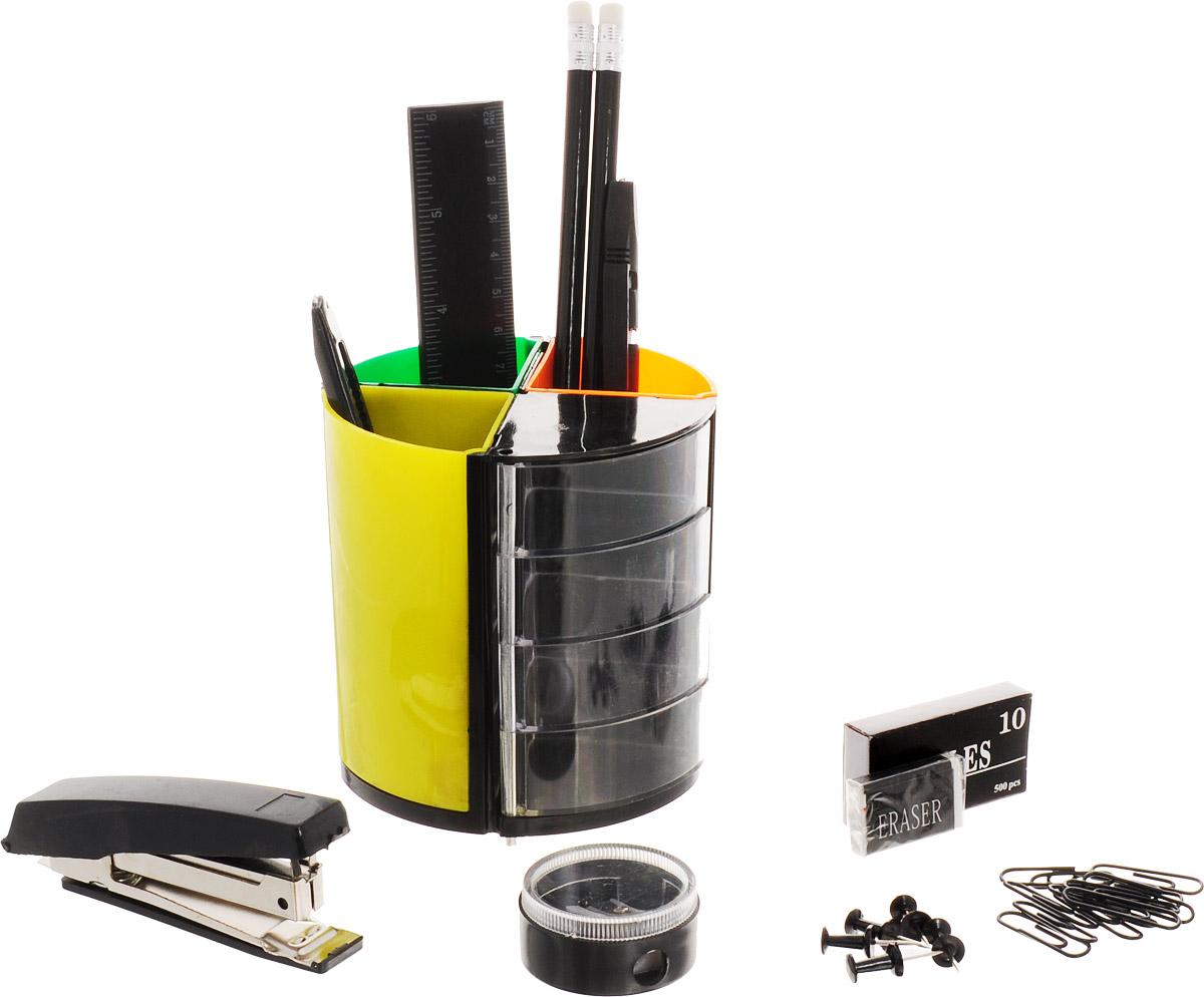 Настольный офисный набор Витраж, 13 предметовFS-00103Яркий и стильный настольный набор Витраж с оригинальной вращающейся подставкой с цветными секциями и прозрачными отделениями для мелочей - необходимый атрибут офисного сотрудника, студента, ученика и просто полезный набор на любом письменном столе. В наборе 13 предметов: 2 карандаша, ручка, ножницы, линейка, степлер и скобы No10, кнопки-гвоздики, скрепки, ластик, точилка, канцелярский нож, подставка. В настоящее время предлагаемый спектр канцелярских товаров необычайно широк. Для того чтобы сделать правильный выбор, помните, что канцелярские товары - это аксессуары, которые создают определенный стиль в интерьере стола. Характеристики: Размер подставки: 10 см х 10 см х 10 см. Материал: пластик, металл, дерево. Размер упаковки: 10,5 см х 19 см х 10,5 см.