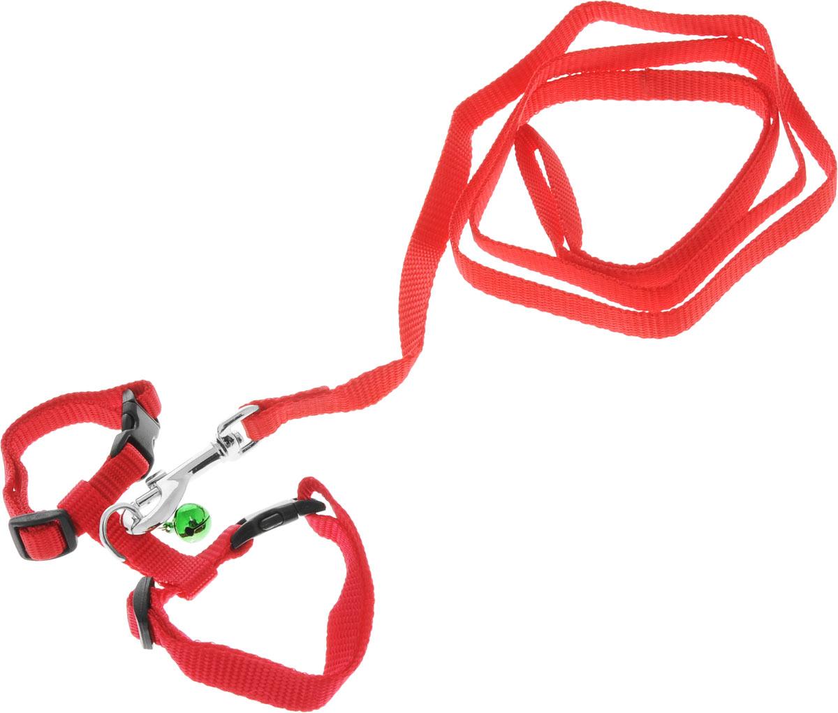 Шлейка для грызунов Каскад, с поводком, цвет: красный, ширина 10 мм, обхват груди 20-30 см01210011-02Шлейка изготовлена из прочного нейлона и дополнена бубенчиком, подходит для домашних грызунов. Крепкие металлические элементы делают ее надежной и долговечной. Шлейка - это альтернатива ошейнику. Правильно подобранная шлейка не стесняет движения питомца, не натирает кожу, поэтому животное чувствует себя в ней уверенно и комфортно. Размер регулируется при помощи пряжки. В комплекте поводок с металлическим карабином. Обхват груди: 20-30 см. Ширина шлейки: 1 см. Длина поводка: 108 см.