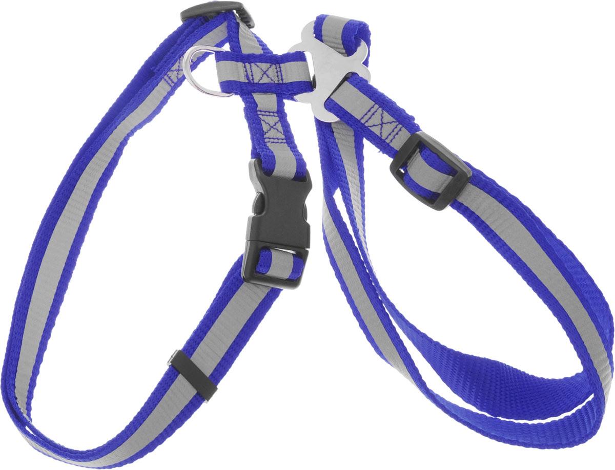 Шлейка для собак Каскад, со светоотражателем, цвет: синий, ширина 20 мм, обхват груди 35-50 см01220014-06Шлейка, изготовленная из прочного нейлона, подходит для собак. Крепкие металлические элементы делают ее надежной и долговечной. Шлейка - это альтернатива ошейнику. Правильно подобранная шлейка не стесняет движения питомца, не натирает кожу, поэтому животное чувствует себя в ней уверенно и комфортно. Размер регулируется при помощи пряжки. Изделие дополнено светоотражающим элементом. Обхват груди: 35-50 см. Ширина шлейки: 2 см.