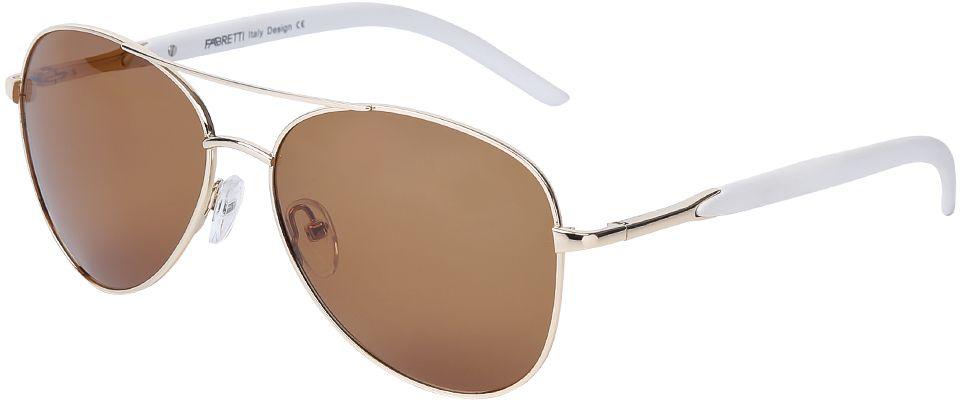 Очки солнцезащитные женские Fabretti, цвет: золотистый, белый, коричневый. E278206-1P631.041.02 D.BrownСтильные женские очки-авиаторы от итальянского бренда Fabretti - настоящий хит будущего сезона. Модная форма, коричневые линзы и яркая оправа в золотом оттенке, - все это без труда подчеркнет вашу элегантность и женственность. Эксклюзивные дужки, выполненные в классическом белом цвете, станут настоящий изюминкой вашего образа. Прочный металл и поляризационное покрытие линз превратили модель, в надежный аксессуар, который будет вашим верным спутником, как на отдыхе, так и за рулем автомобиля.