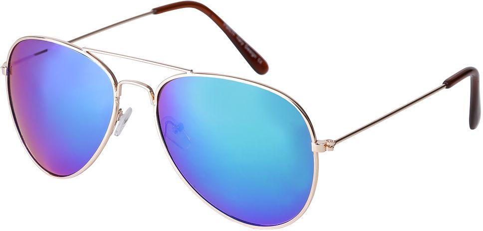 Очки солнцезащитные женские Fabretti, цвет: золотистый, синий. F3714089-1ZFM-849-TRЯркие женские очки-авиаторы от итальянского бренда Fabretti предназначены стать изысканным украшение любого образа. Модный синий цвет линз прекрасно дополнит как повседневный, так и классический стиль. Прочная металлическая оправа, аккуратные дужки и зеркальное покрытие превратили очки, в аксессуар, который еще долго будет оставаться на пике моды. В комплектации с очками чехол, который можно использовать как салфетку.