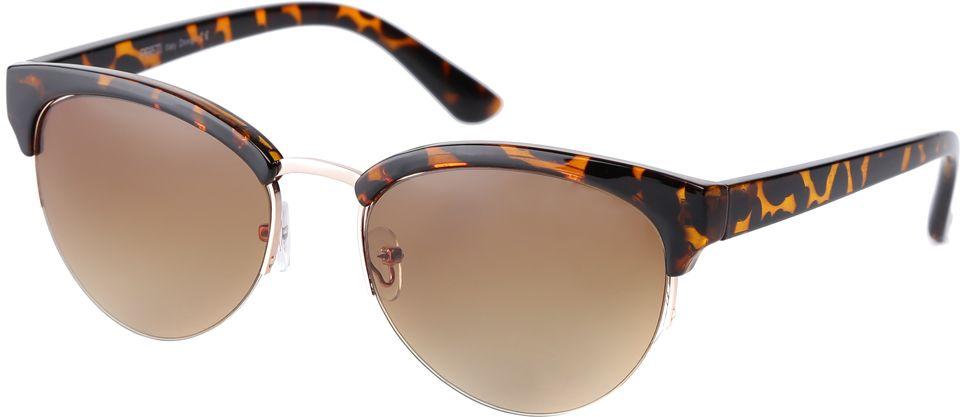 Очки солнцезащитные женские Fabretti, цвет: коричневый. F3715589-1GF3715589-1GИзысканные женские очки от итальянского бренда Fabretti выполнены из пластика с добавлением прочного металла. Невероятно модная в этом сезоне форма кошачьего глаза, оправа с анималистическим принтом и золотая фурнитура придает модели настоящую нотку итальянского шика. Коричневый цвет линз и мягкое градиентное покрытие превращают модель в универсальный аксессуар, который прекрасно дополнит любой стиль одежды. В комплектации с очками чехол, который можно использовать как салфетку.