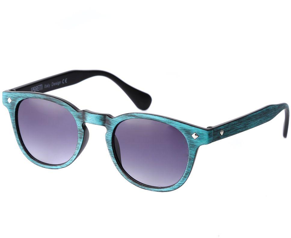 Очки солнцезащитные женские Fabretti, цвет: бирюзовый, сиреневый. F37161812-2G2636.041.02 D.BrownИзысканные женские очки от итальянского бренда Fabretti выполнены из многослойного пластика. Невероятно модная в этом сезоне форма оправы, стильная фактурная поверхность, сочетание зеленого и черного цвета придает модели невероятную утонченность и актуальность в будущем сезоне.Серый цвет линз и мягкое градиентное покрытие превращают модель в универсальный аксессуар, который прекрасно дополнит любой стиль одежды. В комплектации с очками чехол, который можно использовать как салфетку.
