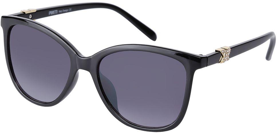 Очки солнцезащитные женские Fabretti, цвет: черный. F3716239-2GFM-1004-LKИзысканные женские очки от итальянского бренда Fabretti выполнены из многослойного пластика. Изысканная форма оправы и насыщенный черный цвет дополнят как современный, так и классический образ. Мягкое градиентное покрытие линз и аккуратные дужки, украшенные аккуратными стразами, с легкостью подчеркнут ваш изумительный вкус. В комплектации с очками чехол, который можно использовать как салфетку.