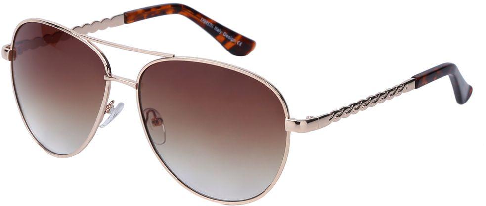 Очки солнцезащитные женские Fabretti, цвет: золотистый, коричневый. J172383-1G8162Женские очки-авиаторы от итальянского бренда Fabretti – это изысканный аксессуар, который должен быть у каждой модницы в этом сезоне. Стильная форма, коричневые линзы и аккуратные дужки с изящным орнаментом с легкостью подчеркнут ваш яркий вкус и дополнят любой современный образ. Градиентное покрытие линз придаст загадочность и утонченности вашему взгляду.Аксессуар очень удобен для вождения, а также незаменим на отдыхе.