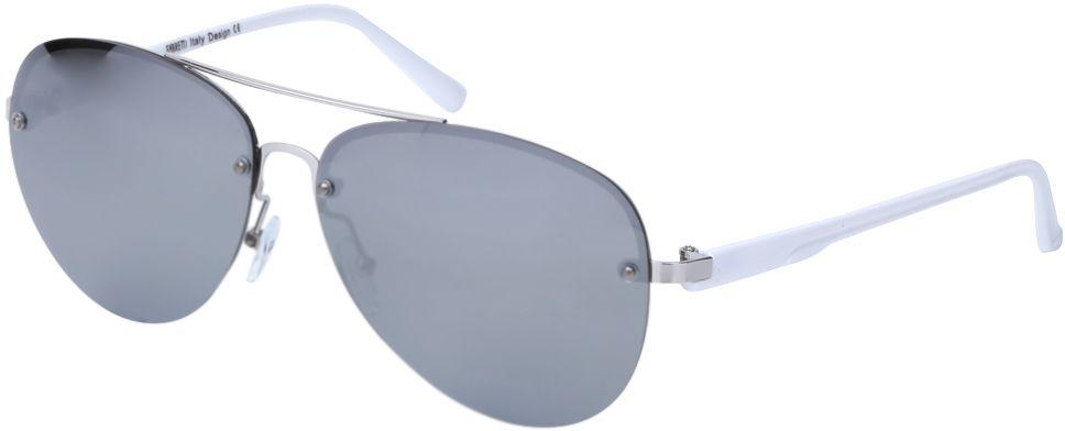 Очки солнцезащитные женские Fabretti, цвет: серебристый, темно-серый. J172460-1PZJ172460-1PZЖенские очки-авиаторы от итальянского бренда Fabretti – это изысканный аксессуар, который должен быть у каждой модницы в этом сезоне. Дизайнерская форма прекрасно подчеркнет ваши скулы, а серебряная фурнитура и стильные серые линзы придадут вашему образу яркости и экстравагантности. Поляризационное покрытие, высокая степень защиты от солнечных лучей и надежные крепления помогут приковывать взгляды окружающих протяжении нескольких модных сезонов.