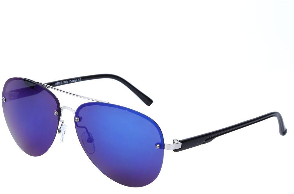 Очки солнцезащитные женские Fabretti, цвет: черный, синий. J172460-3PZFM-107-VKЖенские очки-авиаторы от итальянского бренда Fabretti – это изысканный аксессуар, который должен быть у каждой модницы в этом сезоне. Дизайнерская форма прекрасно подчеркнет ваши скулы, а серебряная фурнитура и стильные синие линзы придадут вашему образу яркости и экстравагантности. Поляризационное покрытие, высокая степень защиты от солнечных лучей и надежные крепления помогут приковывать взгляды окружающих протяжении нескольких модных сезонов.