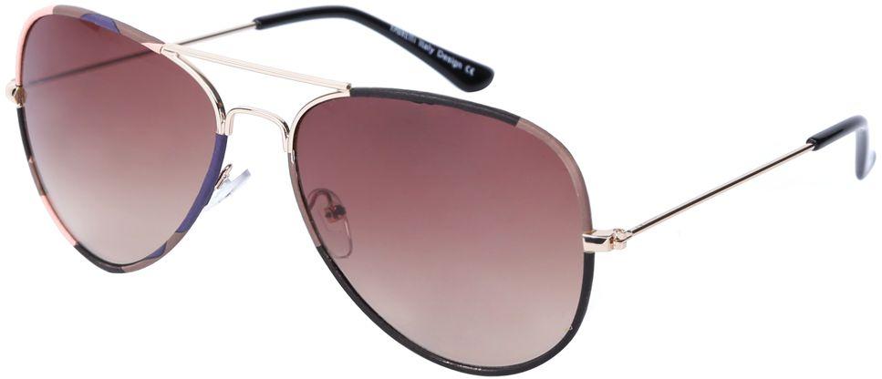 Очки солнцезащитные женские Fabretti, цвет: золотой, коричнево-красный. J172586-1GFM-550-ASЖенские очки-авиаторы от итальянского бренда Fabretti – это изысканный аксессуар, который должен быть у каждой модницы в этом сезоне. Эксклюзивная отделка оправы, создающая эффект тканевого покрытия, придаст вашему образу неповторимую элегантность и изысканность. Коричневый цвет линз и черные дужки завершают дизайн, превращая модель в изумительный аксессуар, который дополнит любой современный образ. Градиентное покрытие, высокая степень защиты от солнечных лучей и надежные крепления помогут приковывать взгляды окружающих протяжении нескольких модных сезонов.