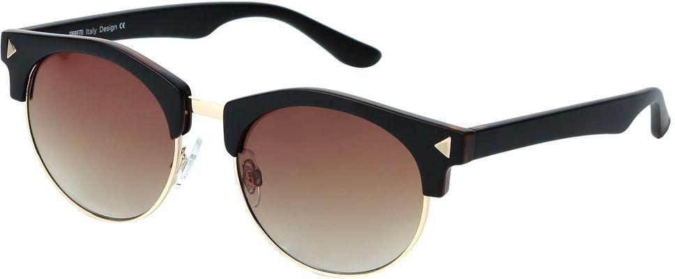 Очки солнцезащитные женские Fabretti, цвет: коричневый, золотистый. J173734-3GFM-849-TRМодные женские очки от итальянского бренда Fabretti выполнены в ретро-стиле «панто». Наши дизайнеры черпали свое вдохновение в модных показах 50-х и 60-х годов. Элегантная форма с легкостью подчеркнет ваши скулы, а изысканный темно-кофейный оттенок придаст любому образу нотки женственность и элегантности. Градиентное покрытие линз, высокая степень защиты от солнечных лучей и надежное крепление дужек, - все это превращает модель в уникальный аксессуар, который будет украшать вас на протяжении нескольких модных сезонов.