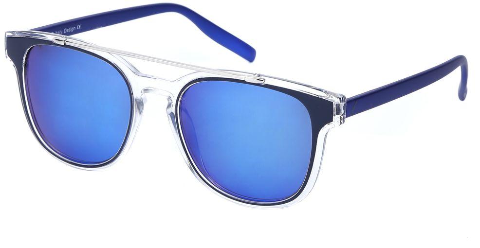 Очки солнцезащитные женские Fabretti, цвет: темно-синий, прозрачный. J173898-2PZJ173898-2PZЭксклюзивные женские очки от итальянского бренда Fabretti соединили в себе элементы ретро-стиля и оправы «авиатор», который прекрасно подойдет ко всем типам лица. Наши дизайнеры черпали свое вдохновение в модных показах 60-х годов и создали уникальную модель, которая дополнит как классический, так и романтический образ. Элегантное сочетание черного, синего и серебряного цвета оправы придаст любому образу нотки итальянского шика, а синие зеркальные линзы подчеркнут вашу яркость и экстравагантность. Высокая степень защиты от солнечных лучей и надежное крепление дужек, - все это превращает модель в уникальный аксессуар, который будет украшать вас на протяжении нескольких модных сезонов.