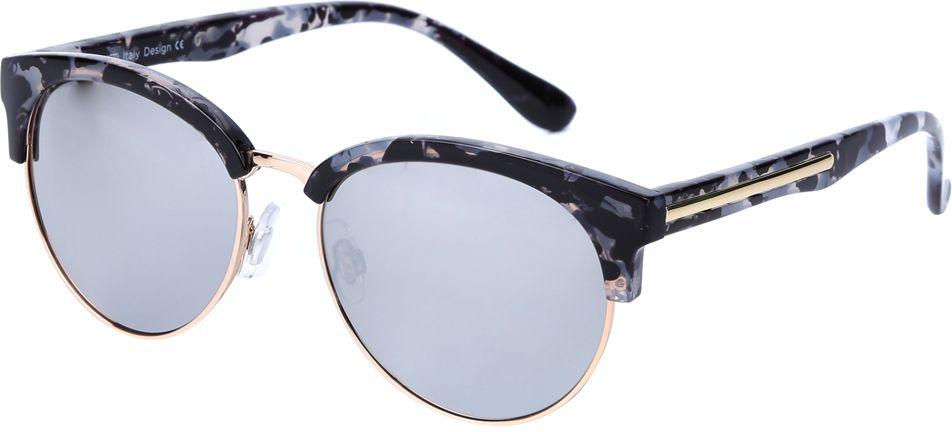 Очки солнцезащитные женские Fabretti, цвет: черный, золотистый. J174472-2ZINT-06501Уникальные женские очки от итальянского бренда Fabretti выполнены в ретро-стиле, который прекрасно подойдет ко всем типам лица. Наши дизайнеры черпали свое вдохновение в модных показах 60-х годов и создали уникальную модель, которая дополнит любой современный образ. Элегантное сочетание серых зеркальных линз и золотого цвета придаст любому образу нотки элегантности и итальянского шика. Высокая степень защиты от солнечных лучей и надежное крепление дужек, - все это превращает модель в уникальный аксессуар, который будет украшать вас на протяжении нескольких модных сезонов.