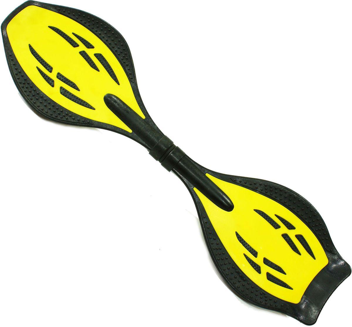 Роллерсерф Dragon Board Junior Destroy, цвет: желтыйво691Габариты: 80 х 21 х 11 см. Вес: 2,4 кг. Нагрузка: до 70 кг. База - ударопрочный ABS пластик. Подшипники - ABEC5. Колеса - полиуретан, 78см, 82А Конструкция - торсионная пружина.