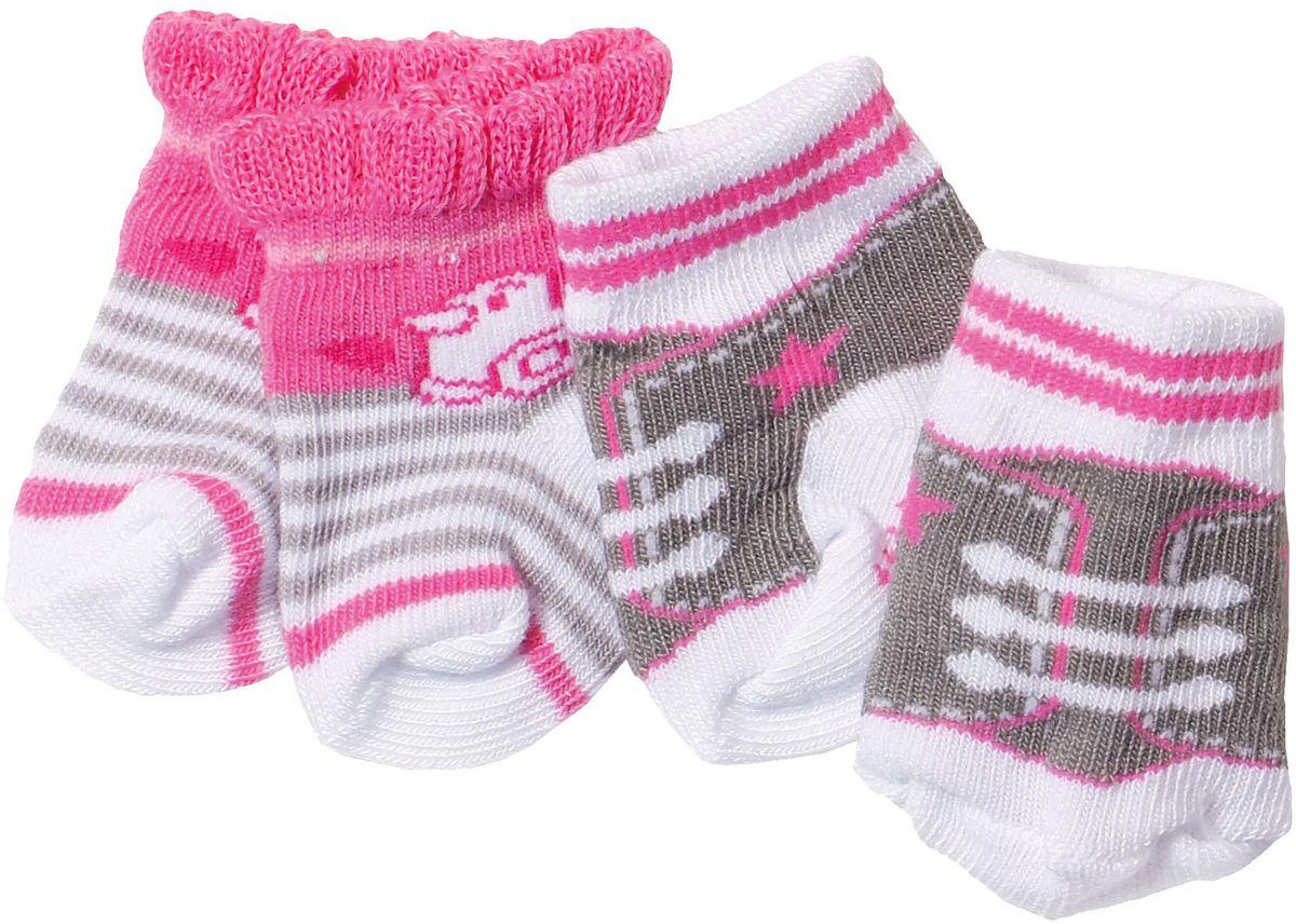 Baby Born Одежда для кукол Носочки 2 пары цвет белый, розовый, коричневый 823-576