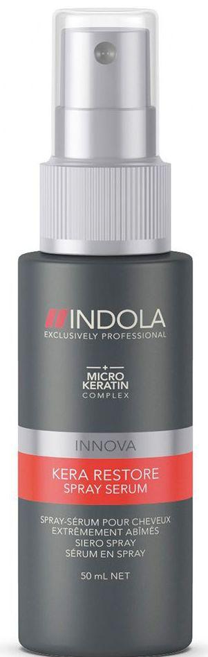 Indola Сыворотка-спрей Кератиновое Восстановление Kera Restore Serum 50 мл1854737Индола Сыворотка спрей Кератиновое Восстановление. Быстро восстанавливает сильно поврежденные волосы благодаря формуле с кератином запечатывает кутикулу, придает упругость и силу. Для сильно поврежденных волос. Рекомендуется использовать в комплексе с шампунем INDOLA Kera Restore
