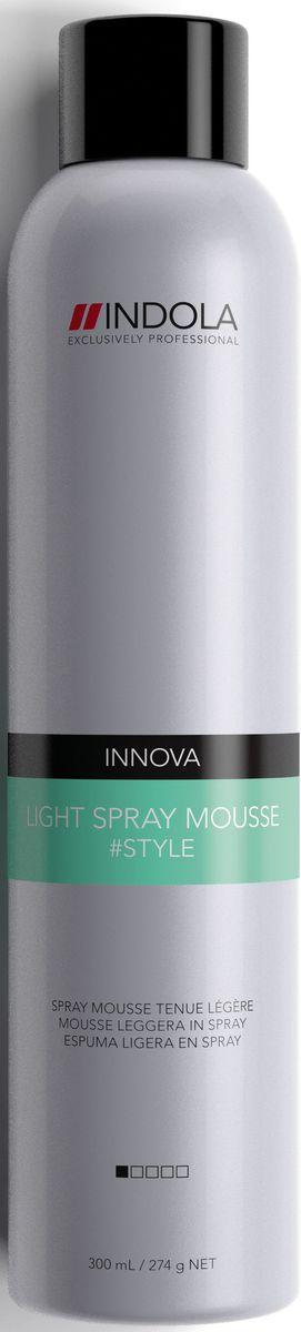 Indola Легкий Спрей-мусс Light Spray Mousse 300 мл1949501Индола Легкий Спрей-мусс. Уплотняет волосы, придает здоровый блеск, создает легкую фиксацию.