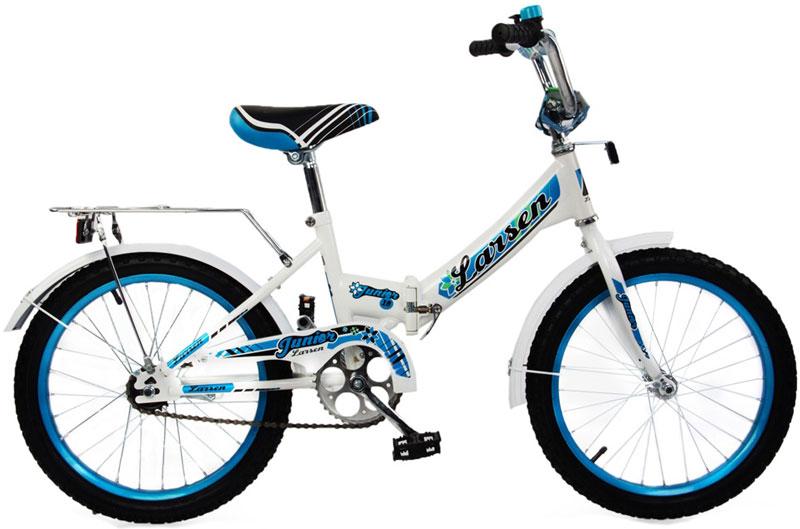 Велосипед детский Larsen Junior 18, цвет: белый, голубой336219Рама: сталь Вилка: жёсткая, сталь Количество скоростей: 1 Размер колес: 18 Резина: 18*2.125 BMX PATTERN Передний переключатель: нет Задний переключатель: нет Обода: стальные усиленные 18 Тормоза: втулочные, ножные тормоза Дополнительное оборудование: гудок, отражатели, крылья