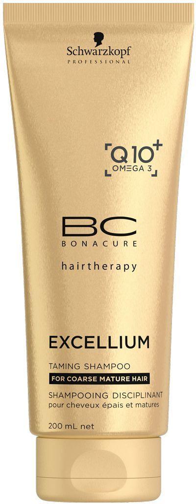 Bonacure Смягчающий шампунь Excellium Taming Shampoo 200 мл1967959Смягчающий шамунь BC Excellium нежно очищает зрелые жесткие волосы и восстанавливает их жизненную силу. Эксклюзивная антивозрастная формула с Q10+ и Omega3 стимулирует выработку кератина, что сособствует омоложению волос, глубокому восстановлению внутренней структуры, смягчению и разгаживанию поверхности волос