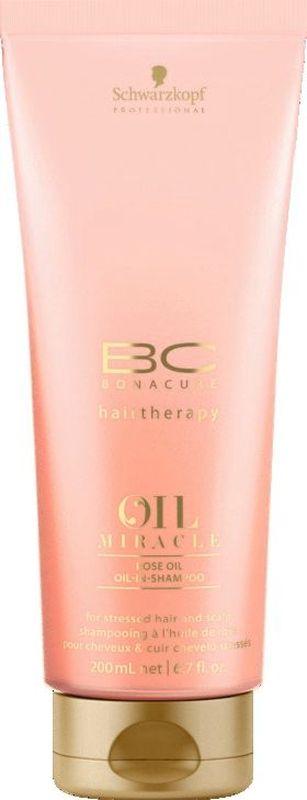 Bonacure Шампунь для кожи головы и волос Oil Miracle Rose Oil Shampoo 200 мл2074776Шампунь для кожи головы и волос, подверженных стрессу с содержанием раскошных экстрактов дамасской и дикой розы. Очищает воздушной пеной, успокаивает и увлажняет, даря стойкий и нежный аромат волосам. Технология микро-эмульсии делает волосы гладкими и блестящими без утяжеления. Рекомендуется использовать с маслом для кожи головы и волос BC Oil Miracle Rose.