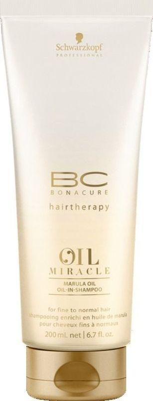 Bonacure Шампунь для тонких волос Oil Miracle light shampoo 200 мл2074781Шампунь для тонких волос. Благодаря технологии микроэмульсии шампунь содержит в своем составе масла, но при этом очищает волосы не перегружая их. Невесомые частицы масла проникают в места разрыва структуры устраняя пористость. Обеспечивает мягкость и богатый насыщенный блеск. Рекомендуется использовать в комплексе с маслом BC Oil Miracle light treatment и; или спреем кондиционером BC Oil Miracle Liquid Oil и; или молочком для придания объема BC Oil Miracle Volume Amplifier и; или спреем маслом BC Oil Miraclre Oil Mist fine hair.