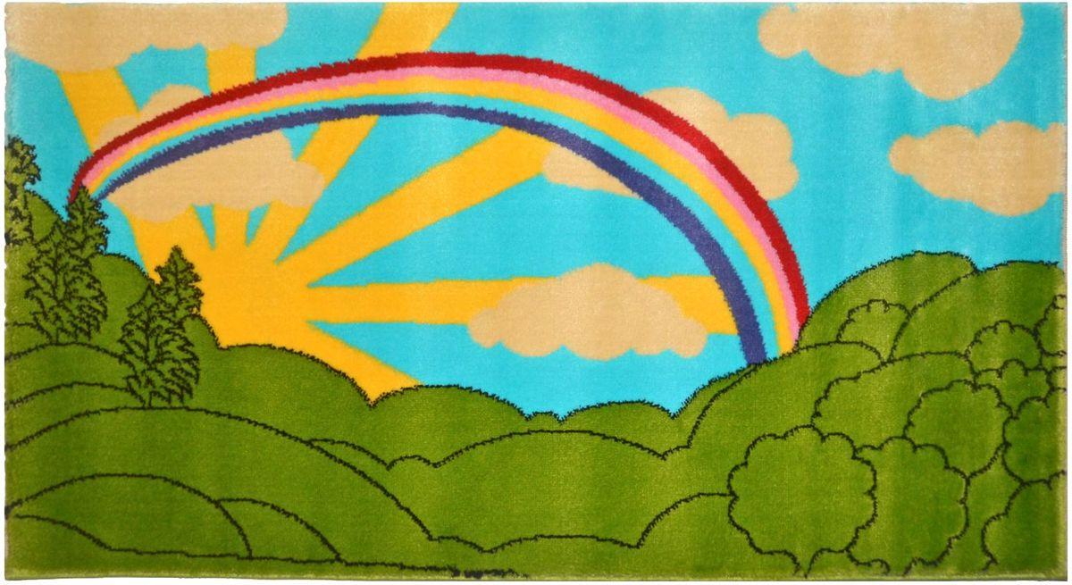 Ковер детский Kamalak Tekstil, цвет: зеленый, голубой, 80 х 150 см. УКД-2053УКД-2053Ковры-паласы выполнены из полипропилена. Ковры обладают хорошими показателями теплостойкости и шумоизоляции. Являются гиппоалергенными. За счет невысокого ворса ковры легко чистить. Вам придется по душе широкая гамма цветов и возможность гармонично оформить интерьер. Практичный и устойчивый к износу ворс - от постоянного хождения не истирается, не накапливает статическое электричество. Структура волокна в полипропиленовых моделях гладкая, поэтому грязь не может выесться, на ворсе она скапливается с трудом. Полипропилен не впитывает влагу, отталкивает водянистые пятна. Уход: Самый простой способ избавить изделие от грязи – пропылесосить его с обеих сторон (лицевой и изнаночной). Влажная уборка с применением шампуней и моющих средств не противопоказана. Если шерсти и шёлку универсальные чистящие составы не подходят, то для синтетики они придутся в самый раз. Хранить их нужно рулоном, не складывая «салфеткой». При надлежащем уходе синтетический ковёр прослужит долго, не утратив ни...
