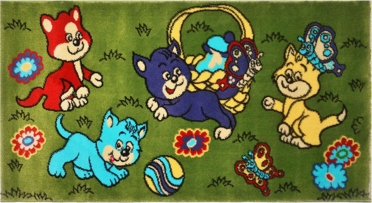 Ковер детский Kamalak Tekstil Котята, 80 х 150 смУКД-2062Детский ковер Kamalak Tekstil изготовлен из высококачественного полипропилена. Полипропилен износостоек, нетоксичен, не впитывает влагу, не провоцирует аллергию. Структура волокна в полипропиленовых коврах гладкая, поэтому грязь не будет въедаться и скапливаться на ворсе. Практичный и износоустойчивый ворс не истирается и не накапливает статическое электричество. Ковер обладает хорошими показателями теплостойкости и шумоизоляции. Оригинальный рисунок позволит гармонично оформить интерьер детской комнаты. За счет невысокого ворса ковер легко чистить. При надлежащем уходе синтетический ковер прослужит долго, не утратив ни яркости узора, ни блеска ворса, ни упругости. Самый простой способ избавить изделие от грязи - пропылесосить его с обеих сторон (лицевой и изнаночной). Влажная уборка с применением шампуней и моющих средств не противопоказана. Хранить рекомендуется в свернутом рулоном виде.