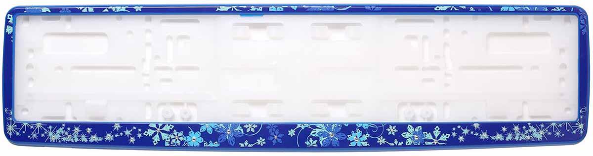 Рамка для номера Концерн Знак Зима, с кристаллами Swarovski, цвет: синий80621Рамка для номера. Предназначена для крепления государственного регистрационного знака. Материал основания - полипропилен, материал лицевой панели ABS-пластик.