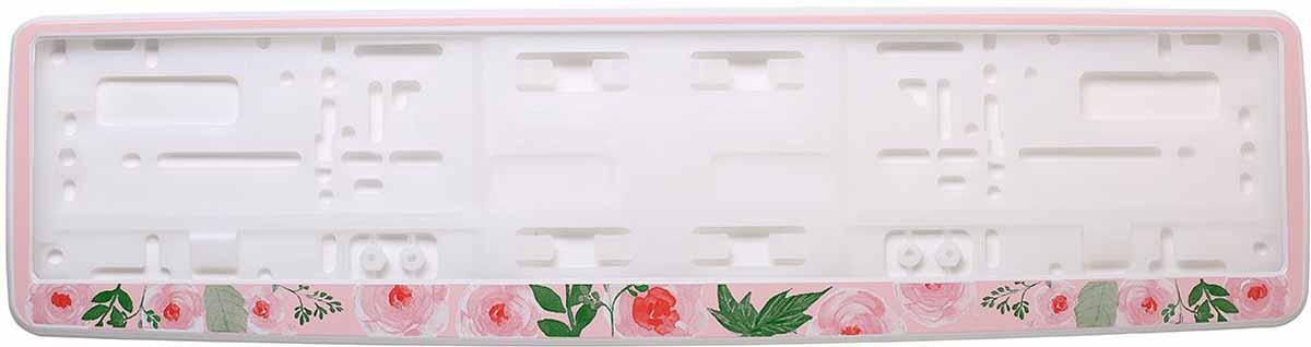 Рамка для номера Концерн Знак Цветы. Акварель, цвет: белый80621Рамка для номера. Предназначена для крепления государственного регистрационного знака. Материал основания - полипропилен, материал лицевой панели ABS-пластик.