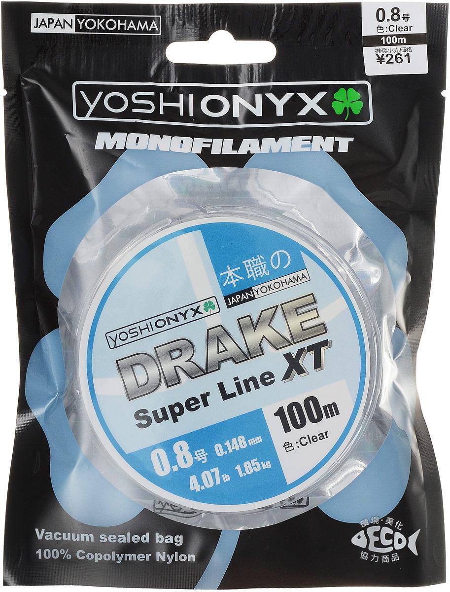 Леска Yoshi Onyx Drake Super Line XT, цвет: прозрачный, 100 м, 0,148 мм, 1,85 кг89467Леска Yoshi Onyx Drake Super Line XT выполнена из прозрачного монофила (нейлон), что делает ее универсальной. Скользкий и мягкий, этот материал невероятно прочен и отлично выдерживает разрывную нагрузку на большинстве узлов. Леска обладает непревзойденными водоотталкивающими свойствами и практически незаметна в воде, что делает ее незаменимой при ловле в условии низких температур. Данная леска обладает повышенной устойчивостью к истиранию, прочностью и превосходной чувствительностью.