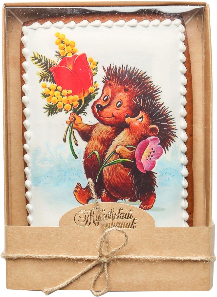 Жуковский пряник Подарочный набор Ежик и цветы0120710Медово-имбирный пряник с росписью из айсинга, фотопечатью на сахарной бумаге. Отличный подарок для любимых. Без ГМО.