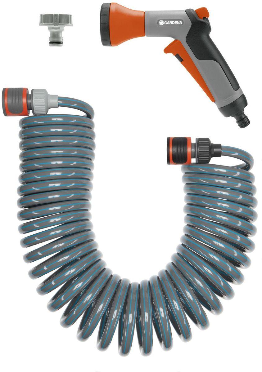 Шланг для террас Gardena, спиральный, с фитингами для подключения и наконечником для полива, длина 10 м18424-20.000.00Комплект: Шланг спиральный 10 м для террас с фитингами для подключения и наконечником для полива